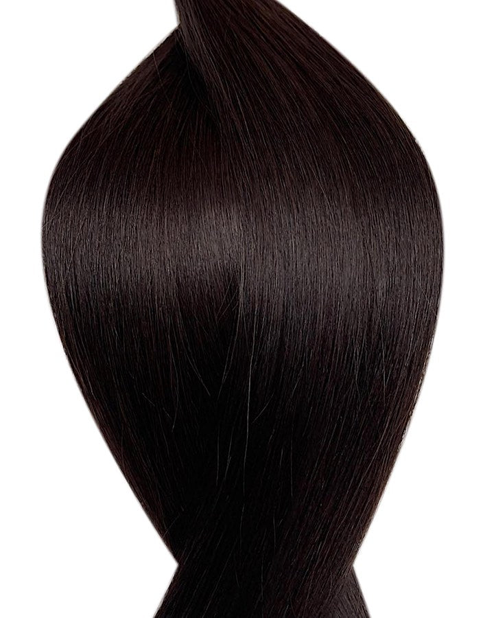 "Seamless clip in hair extensions UK available in #1B off black treacle 18"" and 20"""
