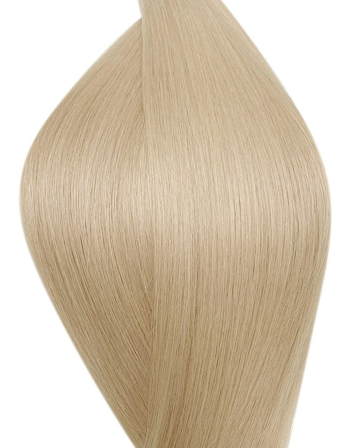 "Seamless clip in hair extensions UK available in #60B platinum ash blonde pearl glow 18"" and 20"""