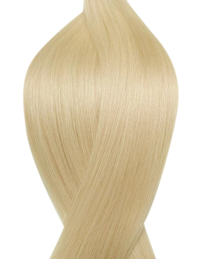 "Seamless clip in hair extensions UK available in #60 platinum blonde 18"" and 20"""
