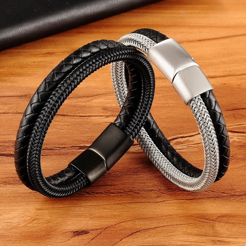 Leather Bracelet with stainless steel G027 (several variants of colours)