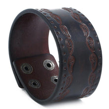 Load image into Gallery viewer, Fashion Punk Wide Leather Wristband K006