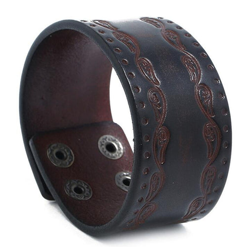 Fashion Punk Wide Leather Wristband K006