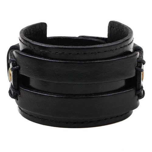 trendy Leather Wide Bracelet K028 two colours