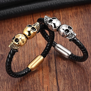 Leather Bracelet with stainless steel Skulls G028 (several variants of colours)
