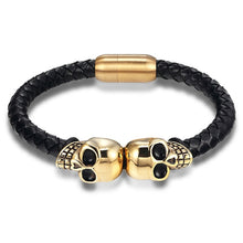 Load image into Gallery viewer, Leather Bracelet with stainless steel Skulls G028 (several variants of colours)