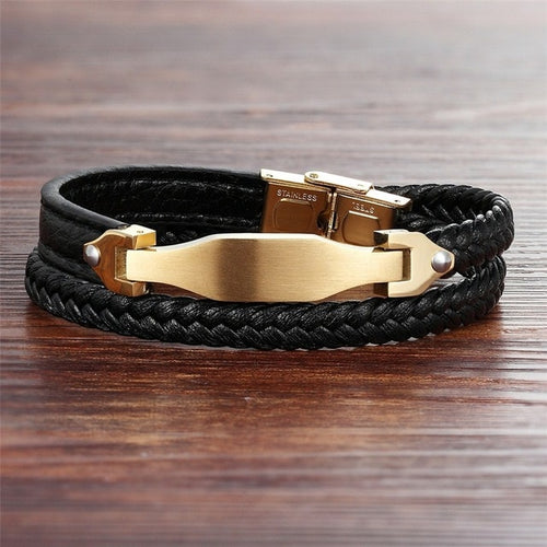 Leather Bracelet with stainless steel G016 (several variants of colours)