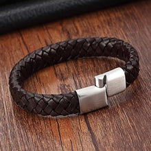 Load image into Gallery viewer, Leather Bracelet with stainless steel G019 (several variants of colours)