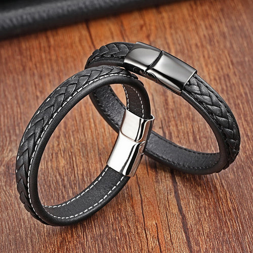 Leather bracelet with stainless steel G030 (several variants of colours)