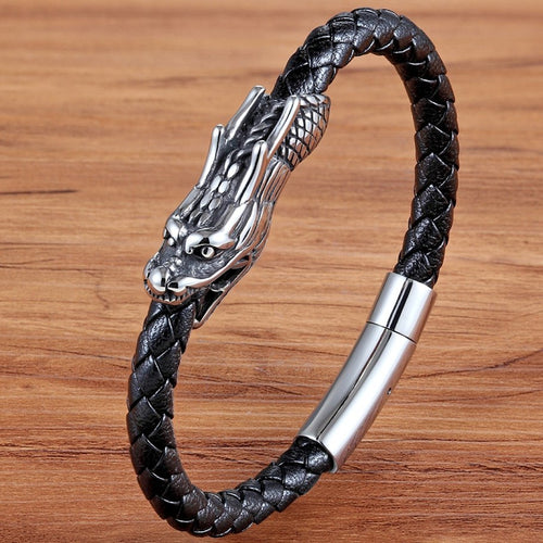 Leather Bracelet with stainless steel G015
