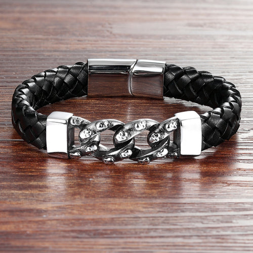Leather Bracelet with stainless steel G029 Souls (several variants of colours)