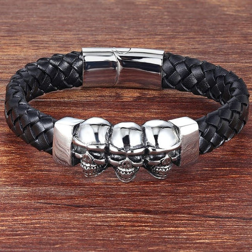 Leather Bracelet with Three Skulls G005 (several variants of colours)