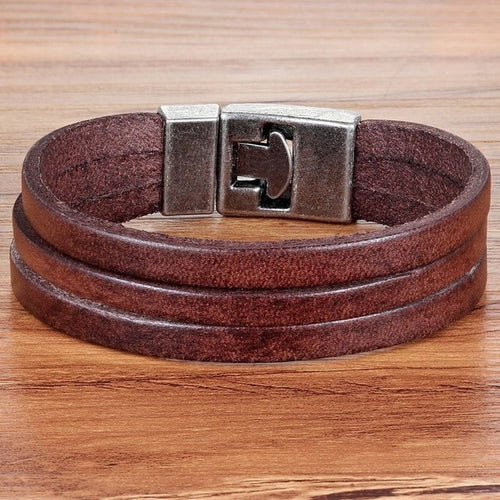 Leather Bracelet with stainless steel G024 (several variants of colours)