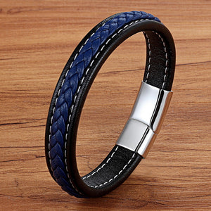 Leather Bracelet with stainless steel G007 (several variants of colours)