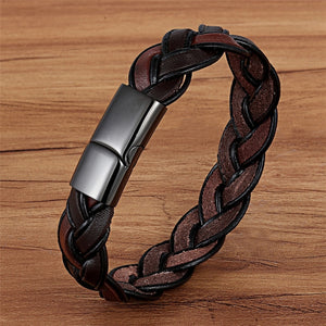 Leather Bracelet with stainless steel G025