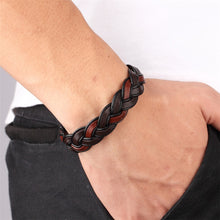 Load image into Gallery viewer, Leather Bracelet with stainless steel G025