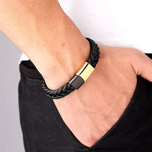 Load image into Gallery viewer, Leather Bracelet with stainless steel G014 (several variants of colours)