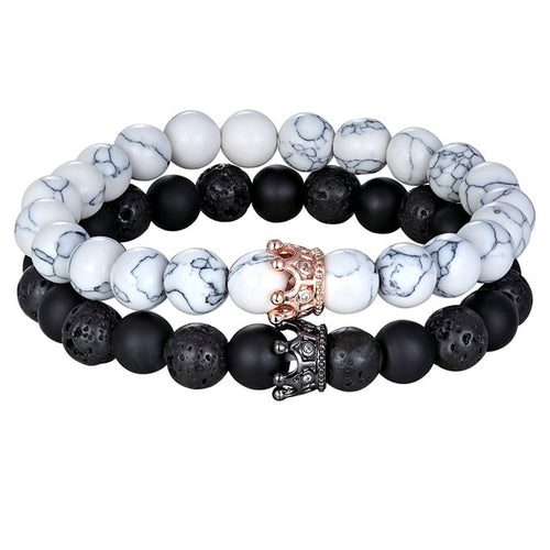Bracelet Lava Matte Onyx Stone with Crown B005 ( five type)