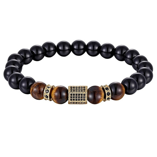 Matte Onyx Stone beaded bracelet with cubic zircon B003 (several colours)