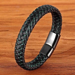 Leather Bracelet with stainless steel G004 (several variants of colours)