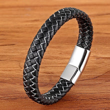 Load image into Gallery viewer, Leather Bracelet with stainless steel G004 (several variants of colours)