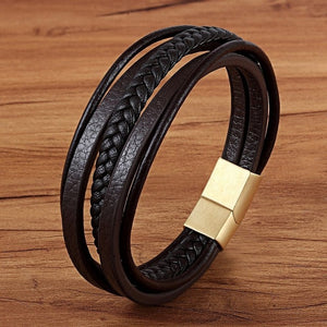 Leather Bracelet with stainless steel G009 (several variants of colours)