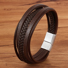 Load image into Gallery viewer, Leather Bracelet with stainless steel G009 (several variants of colours)