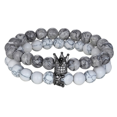 Gray Natural Stone beads bracelet B004 (nine type)