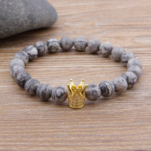 Load image into Gallery viewer, Gray Natural Stone beads bracelet B004 (nine type)