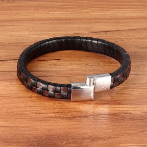 Leather Bracelet with stainless steel G023 (several variants of colours)