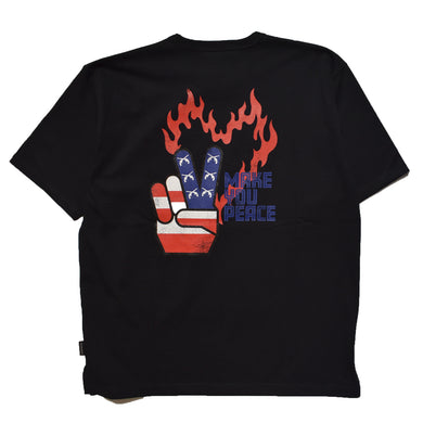 PEACE USA BACK PRINT OVER SIZED T / BLACK