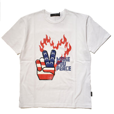 PEACE USA FRONT PRINT REGULAR SIZE T / WHITE