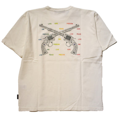 RAINBOW MESSAGE CROSSGUN SWAROVSKI OVERSIZE T / WHITE