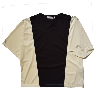 SMOOTH × SATIN T-SHIRT / BLACK WHITE