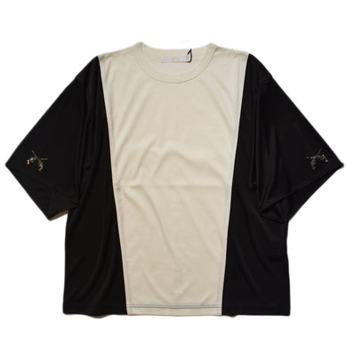 SMOOTH × SATIN T-SHIRT / WHITE BLACK