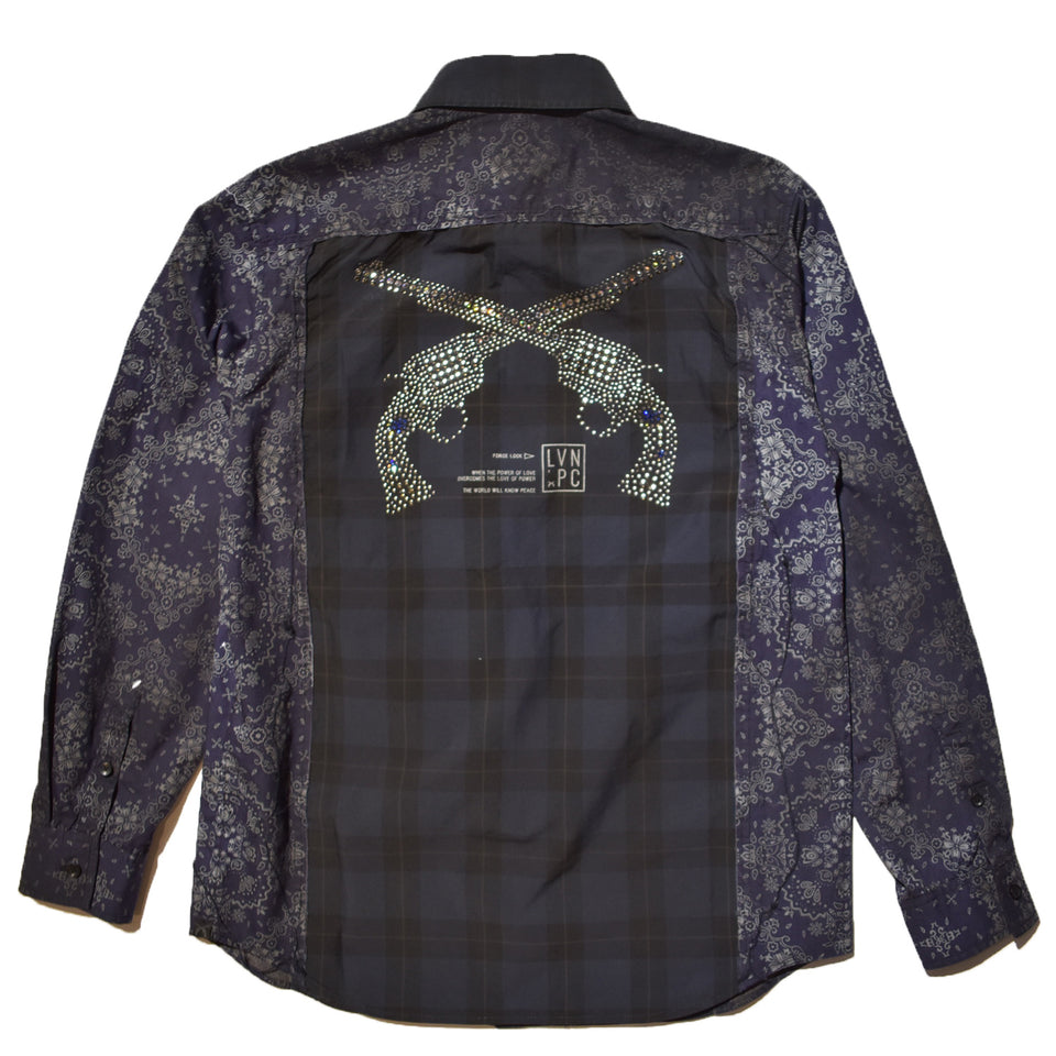 Load image into Gallery viewer, CHECK × BANDANA SHIRT SWAROVSKI / NAVY