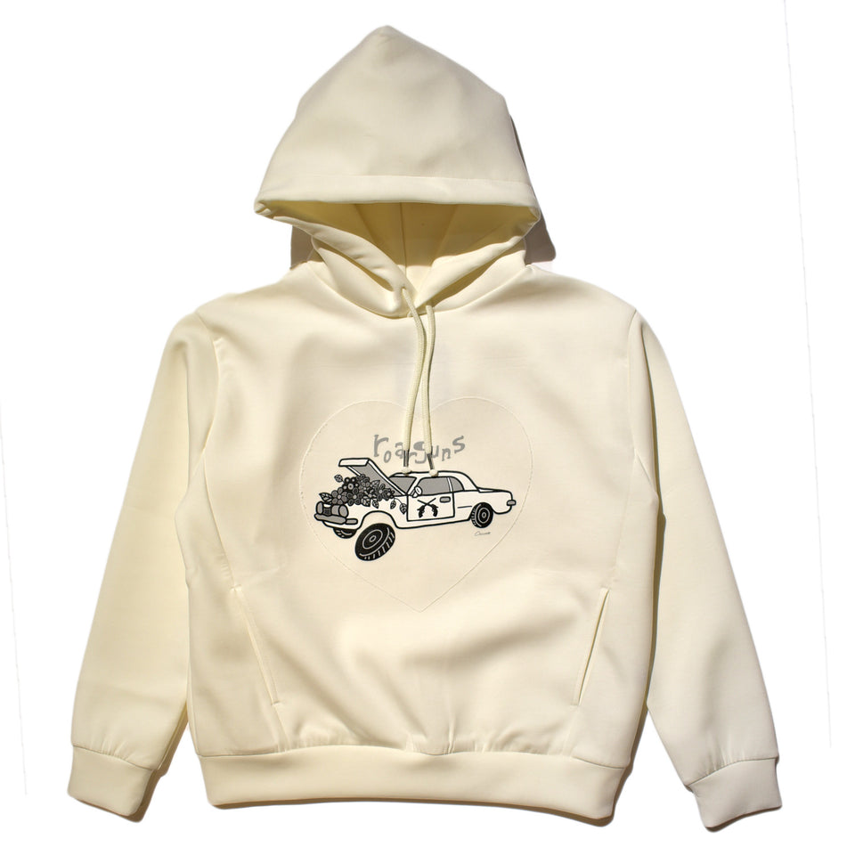 Load image into Gallery viewer, × CHOCOMOO PULLOVER HOODIE CAR WOMAN / WHITE