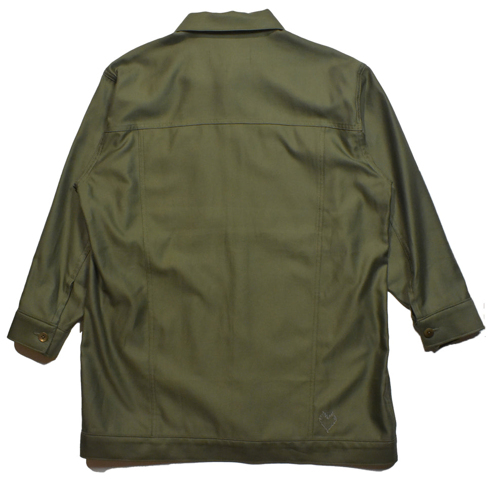 Load image into Gallery viewer, BACK SATIN × TWILL JACKET WOMAN / KHAKI