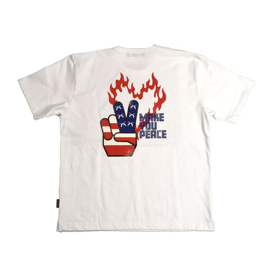 PEACE USA BACK PRINT OVER SIZED T / WHITE