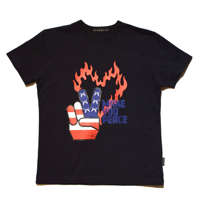 PEACE USA FRONT PRINT REGULAR SIZE T / BLACK