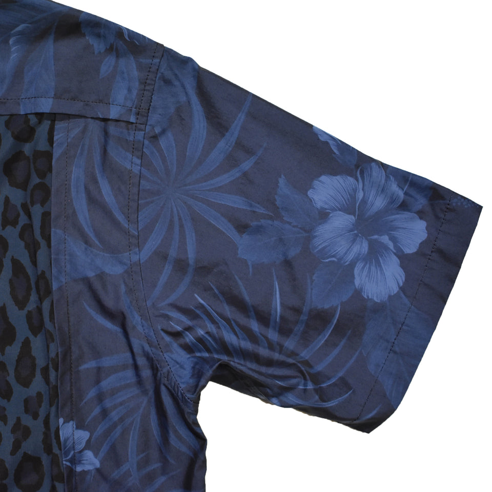 Load image into Gallery viewer, LEOPARD × ALOHA SHIRT SWAROVSKI / BLUE