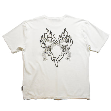 HEART PRINT SWAROVSKI CROSSGUN T / WHITE