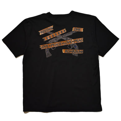 TAPE LOGO CROSSGUN SWAROVSKI OVERSIZE T / BLACK