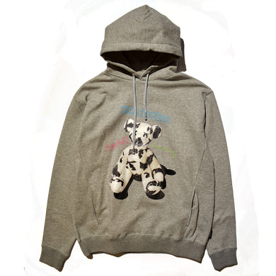 FLEECY HOODIE PHOTO BEAR PRINT / GRAY