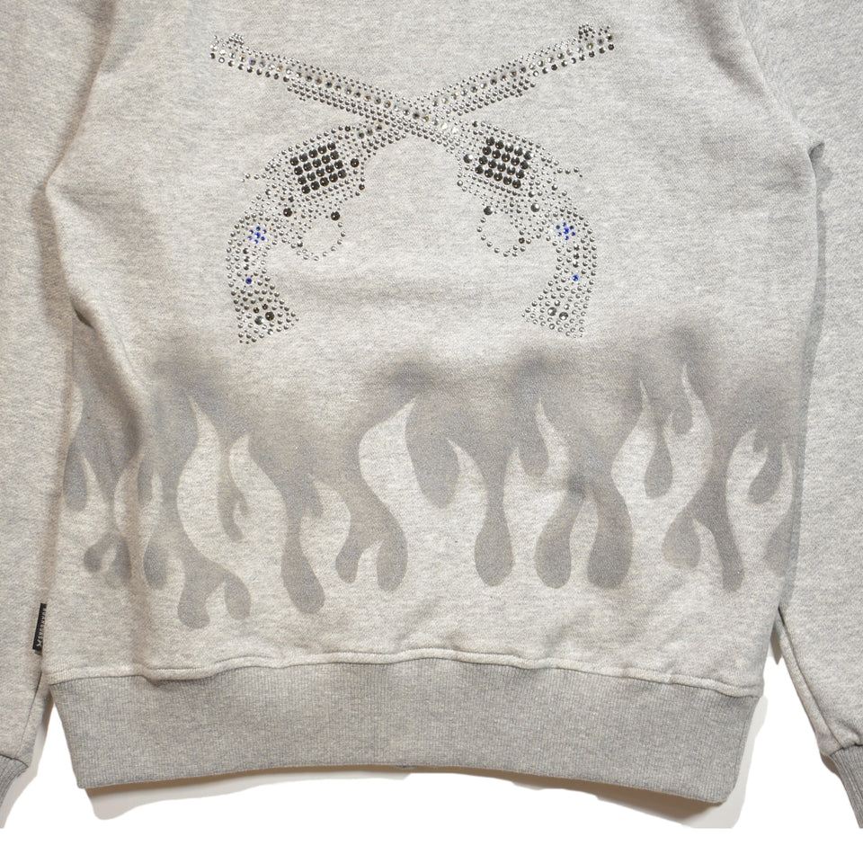 Load image into Gallery viewer, FLEECY HOODIE FIRE PATTERN STENCIL / GRAY