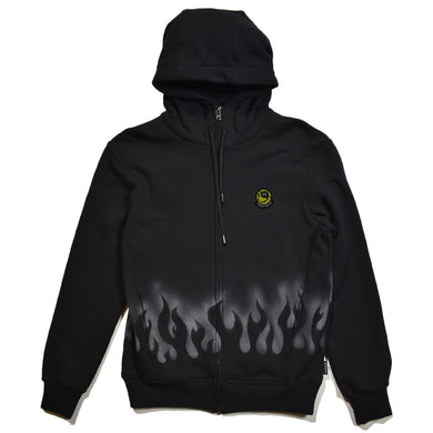 FLEECY HOODIE FIRE PATTERN STENCIL / BLACK
