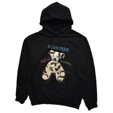 FLEECY HOODIE PHOTO BEAR PRINT / BLACK