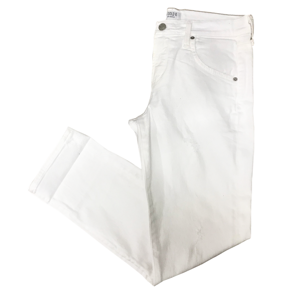 Agolde white buttoned skinny jeans