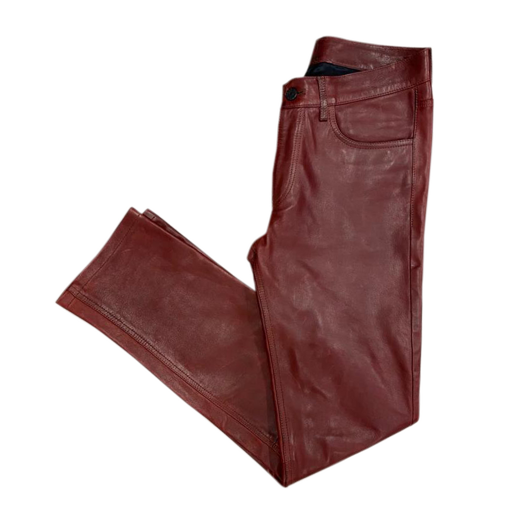 Acne studios red leather zip and button jeans