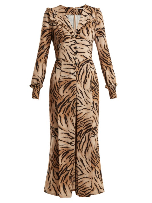 Alessandra rich tiger button cuffed v-neck ruffled dress