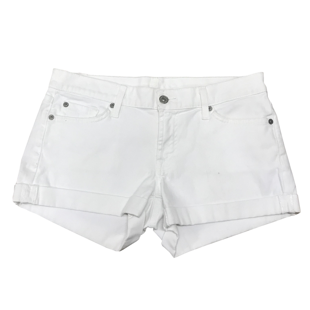 7 for all mankind rolled white denim button shorts